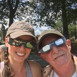 My dad and me rocking our eclipse glasses